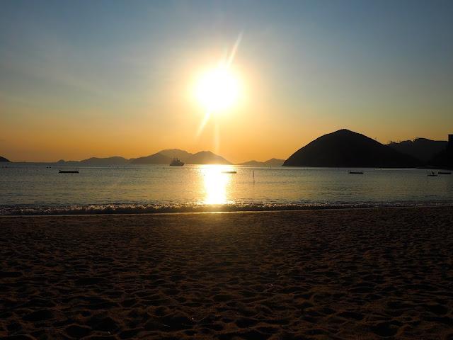 Early evening sunset above the ocean at Repulse Bay Beach, Hong Kong