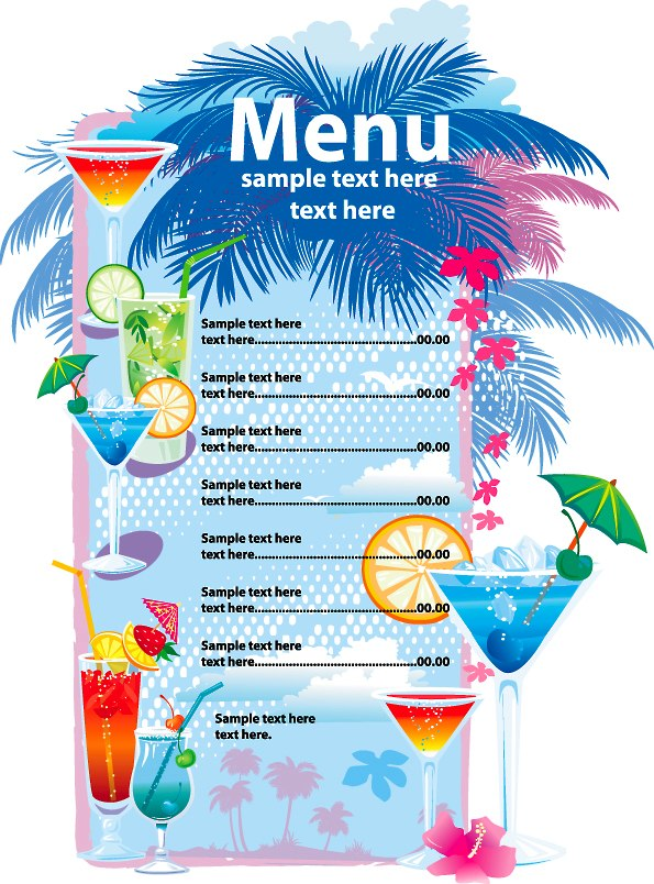 10 menus para restaurantes editables y gratis for Drink menu template microsoft word