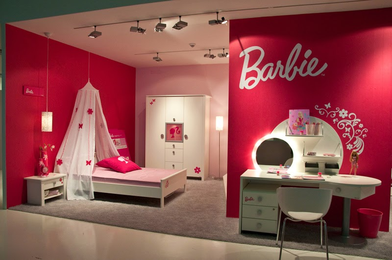 Girls barbie bedrooms pink colored interior design for Room decoration images