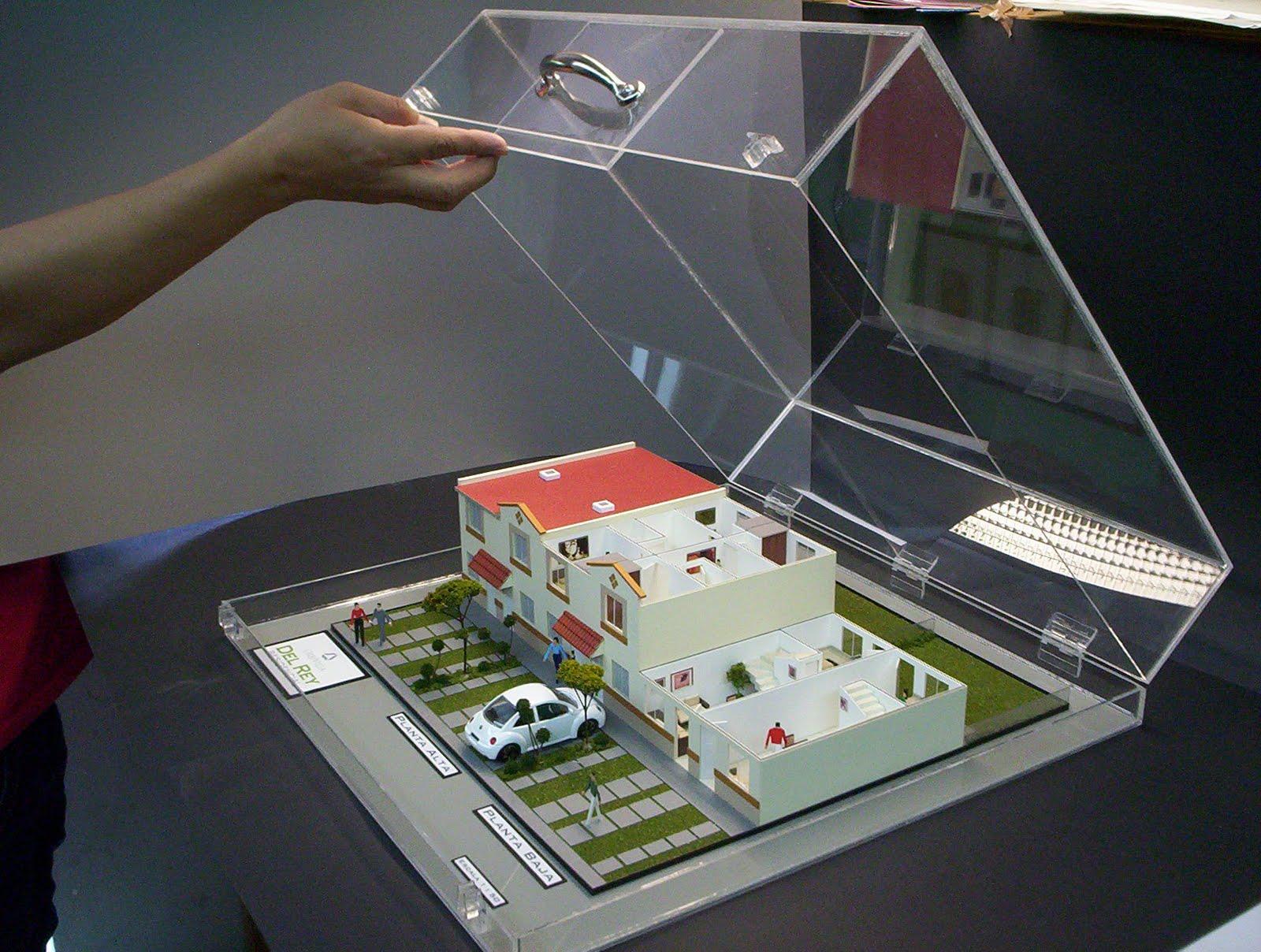 Maqueta de casa habitaci n tipo malet n for Muebles a escala 1 50 para planos