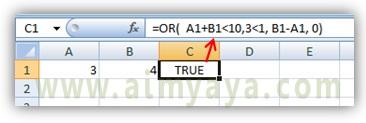 Gambar: Contoh pemakaian fungsi OR() di excel