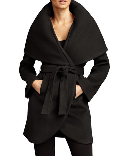 black robe coat, black winter coat, T Tahari black Marla wrap, Marla black, Tahari blavk wrap robe, J Crew black robe coat, Topshop black coat 2014 trendy, classic black winter coat, best black winter jackets