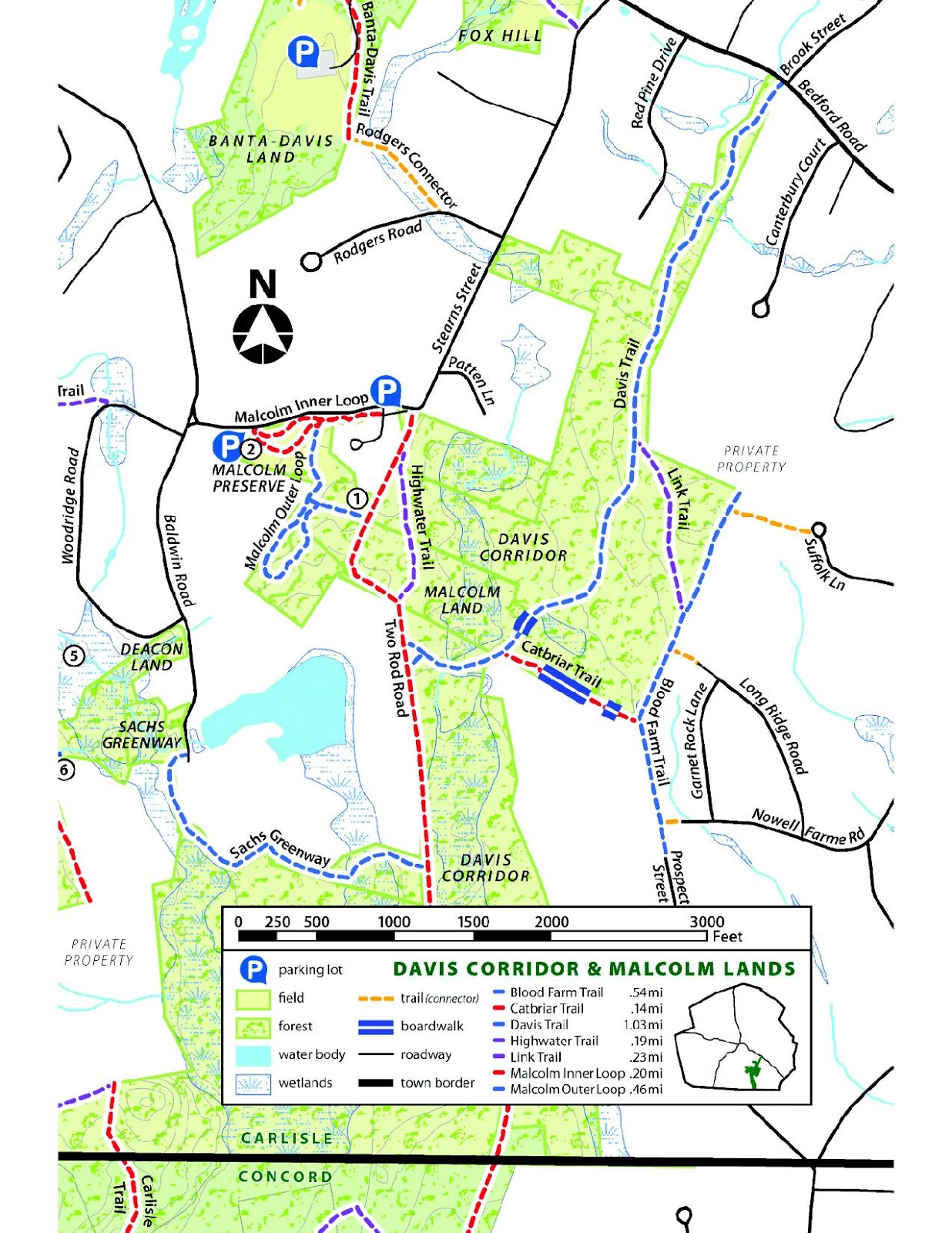 On the Land CR Properties with public access Estabrook Woods part
