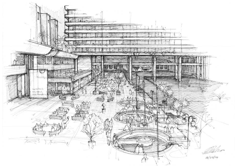 16-The-Barbican-Luke-Adam-Hawker-Creating-Architectural-Drawings-on-Location-www-designstack-co