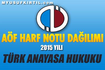 Anadolu Üniversitesi Açıköğretim Fakültesi Türk Anayasa Hukuku Dersi Harf Notu Dağılımı ( 2015 Yılı )