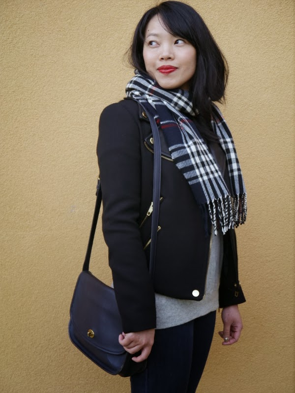 Plaid scarf, moto jacket, and vintage Coach bag