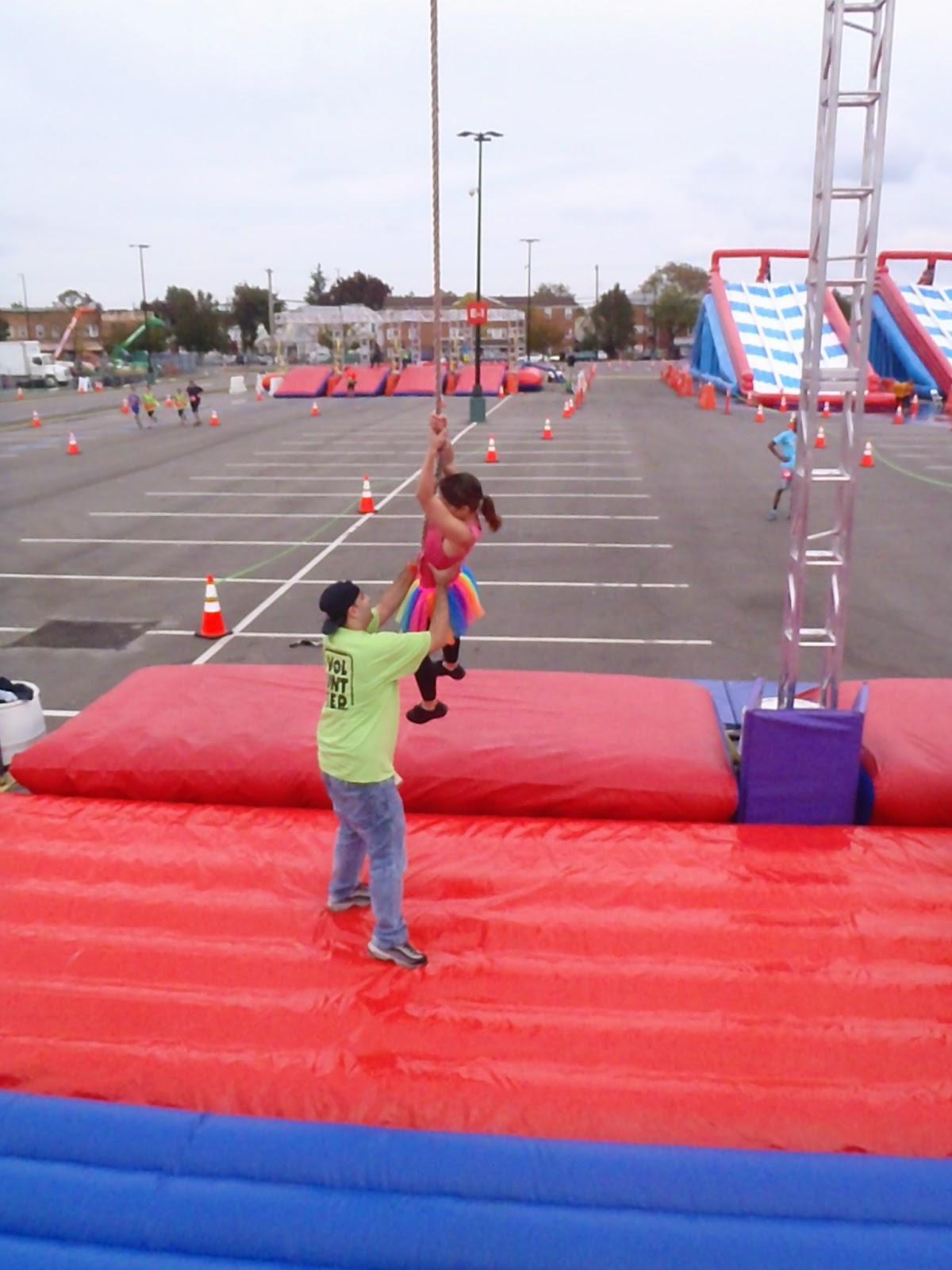 Ridiculous obstacle race tarzan swing