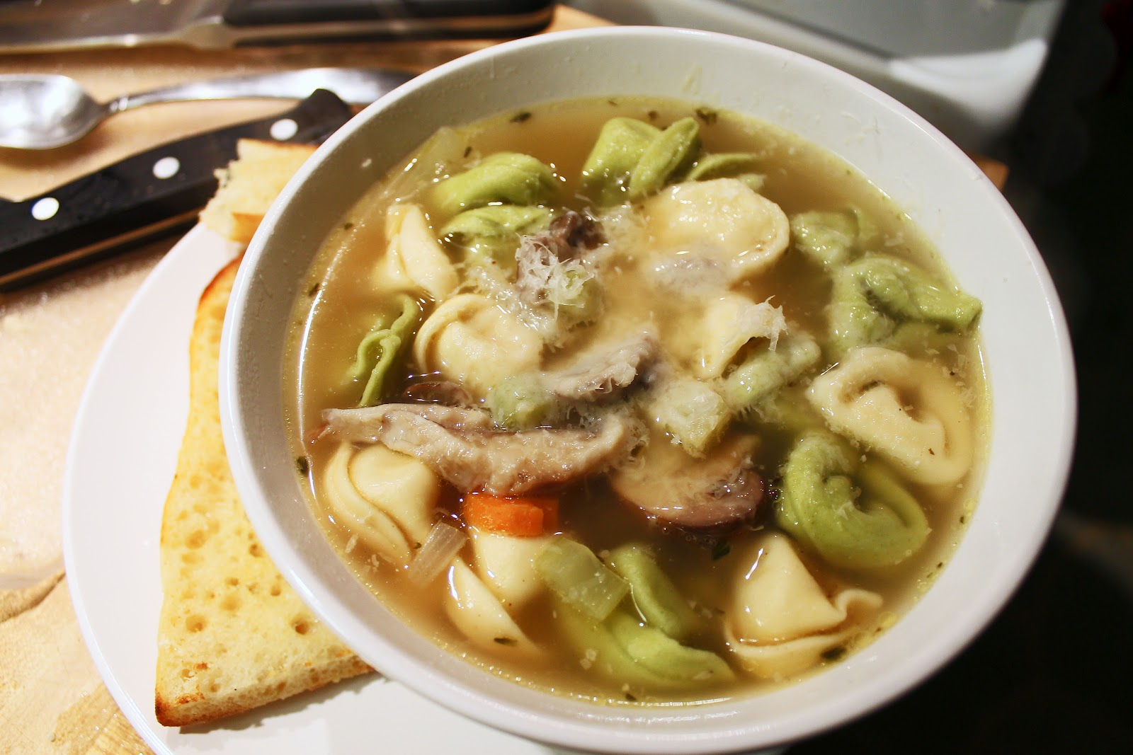 Three Cheese Tortellini And Mushroom Soup Recipe — Dishmaps