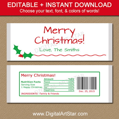 Editable Christmas candy bar wrappers with holly
