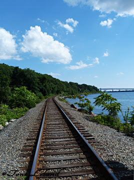 Railroad track along the Thames River, New London, Connecticut by Toni Leland