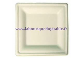 Assiette jetable carrée en pulpe végétale biodégradable blanche