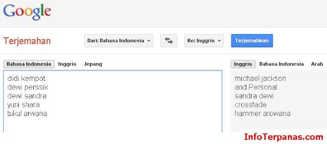 Inilah Daftar 5 Artis Indonesia Tergokil Versi Google Translate