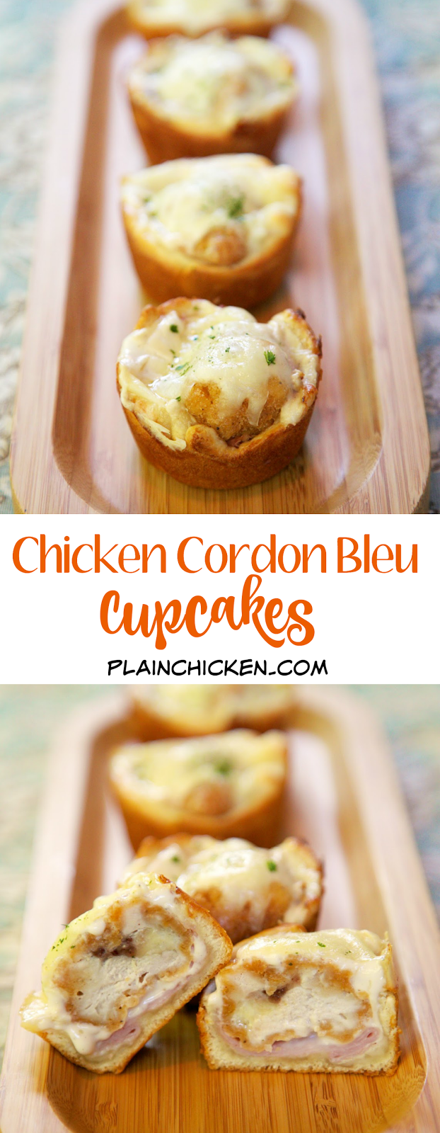 Chicken Cordon Bleu Cupcakes - frozen popcorn chicken, ham, alfredo sauce, swiss cheese baked in crescent cups! Only 5 ingredients and ready in under 20 minutes! These are great for a quick lunch, dinner or even a party! We love these!! Kids (and adults) gobble these up!