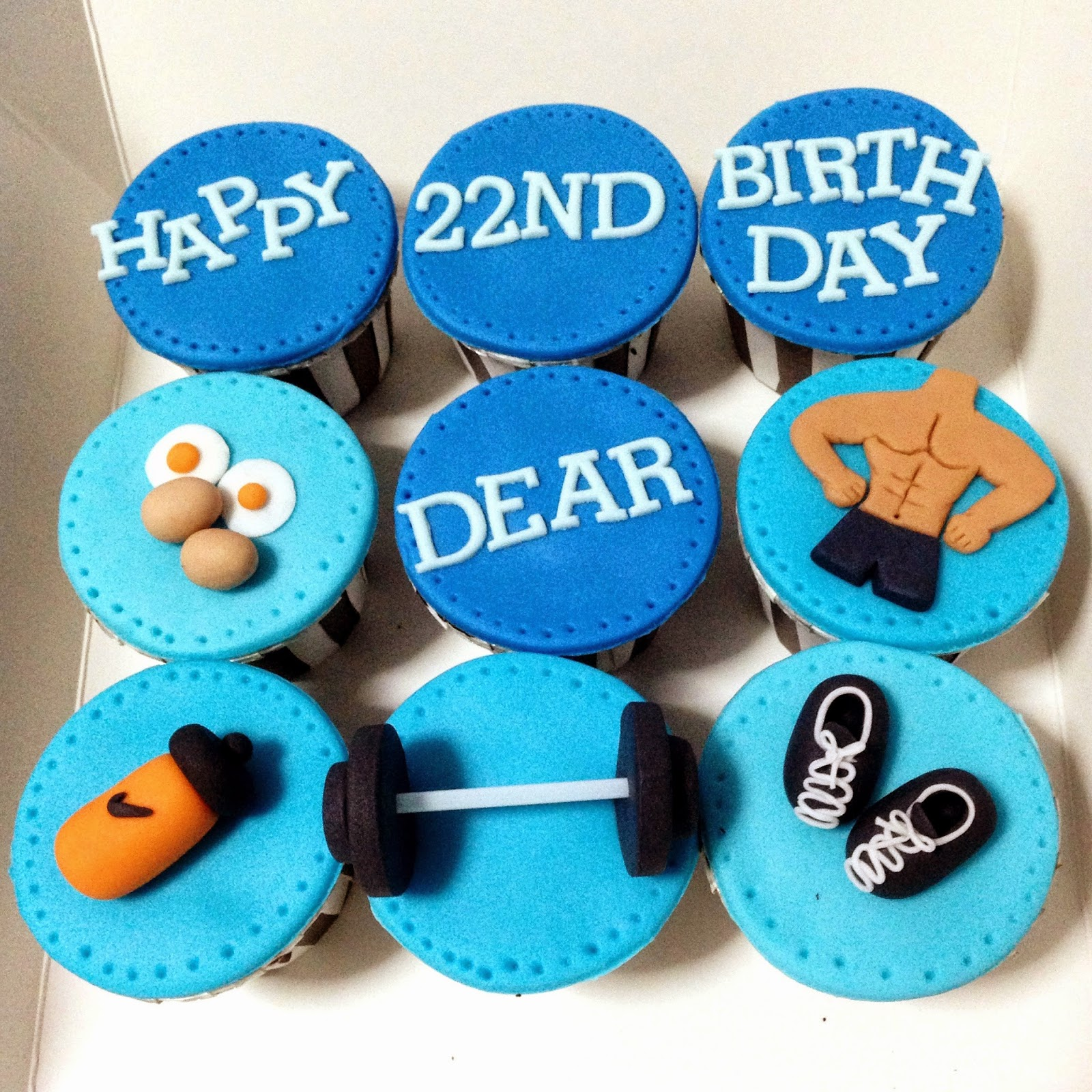 Oven Creations Happy 22nd Birthday Gym Theme Cupcakes