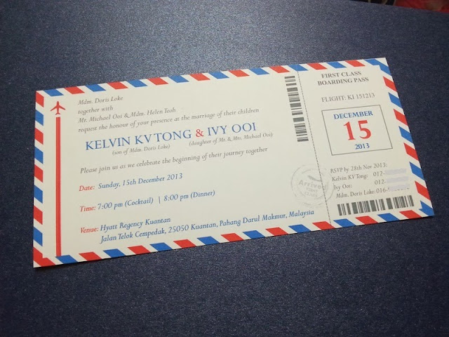 par avion envelope, wedding card, invitation, pahang, hyatt regency hotel, kuantan, chinese