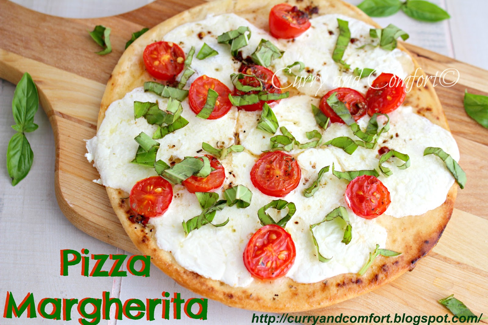 Pizza Margherita on a Garlicky Naan Crust