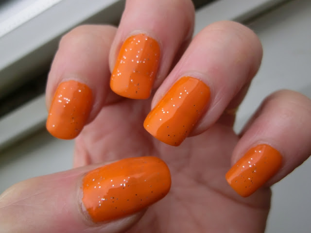 Simple Pleasures Orange Polish Swatch with glitter