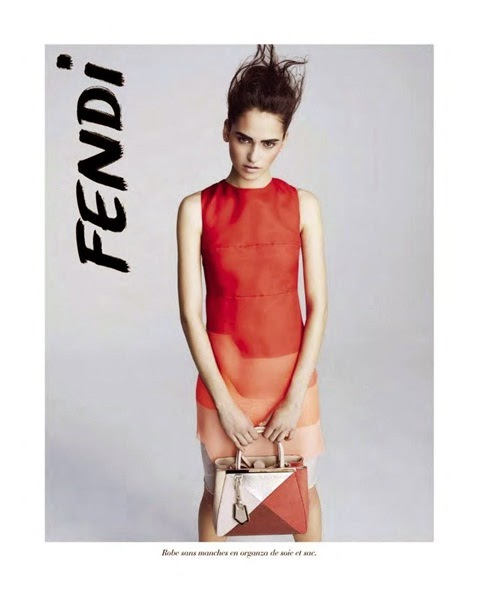 Fendi SS 2014 Editorial: Red Layering Organza Dress