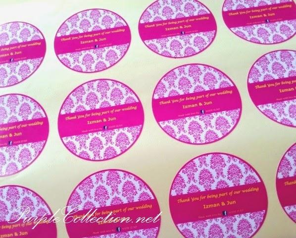 Sticker Print, circle, round, gloss coated, magenta, pink, damask, pattern, singapore, johor bahru, penang, perak, ipoh, malaysia, pahang, bentong, kuantan, terengganu, floral, flower, china, export, import, bespoke, scallop, rectangle, square, cetak, free design, matching, personalised, personalized