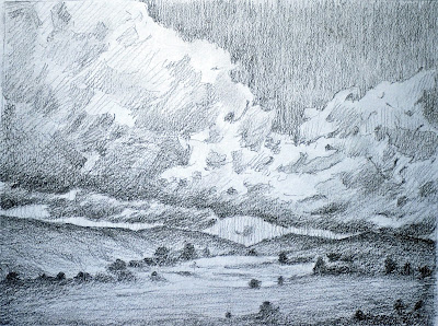 Clouds, Valley, Drawing, Scotland, graphite