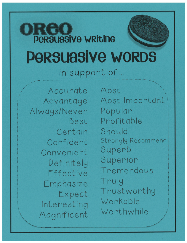 http://www.teacherspayteachers.com/Product/Persuasive-OREO-Writing-PosterGraphic-OrganizerPrompts-195864
