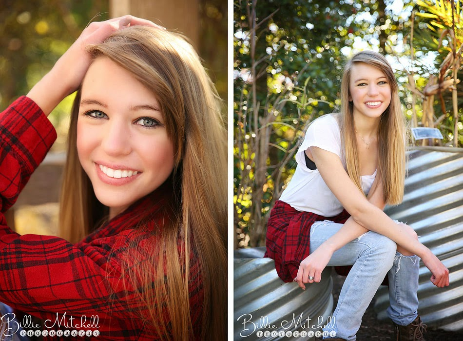 high school senior girl in red plaid shirt, torn jeans and white tshirt