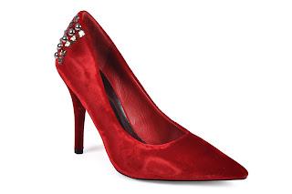 Velvet red shoes