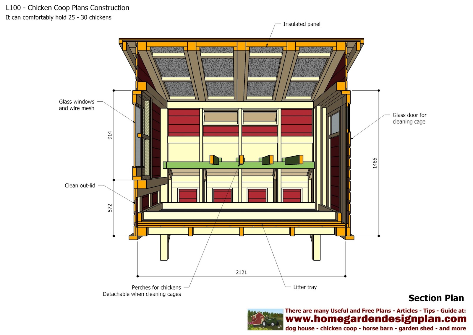 Home garden plans l100 chicken coop plans construction for A frame chicken house