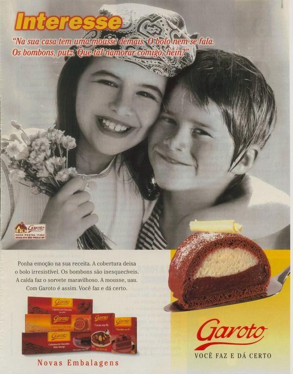 """Campanha do Chocolate Garoto para o ano de 1998. Explicam o que é """"interesse"""" de forma criativa."""