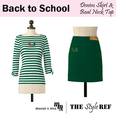 Back to School: Meesh and Mia Denim Skirt and Boat Neck Top in Miami Hurricanes