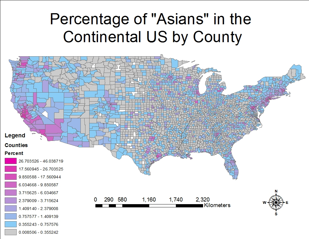 the percentage of asians by county in the continental u s seemed to increase with increasing populations therefore ares with large cities had a greater