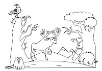 Moose and beaver in free forest animals coloring book by Robert Aaron Wiley for Microsoft Office Online