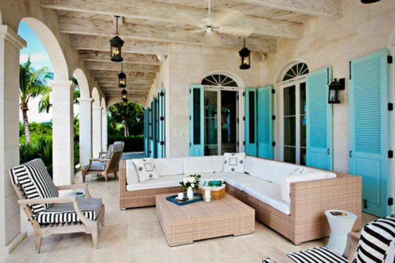 we love these aqua shutters the color is so bright and island like