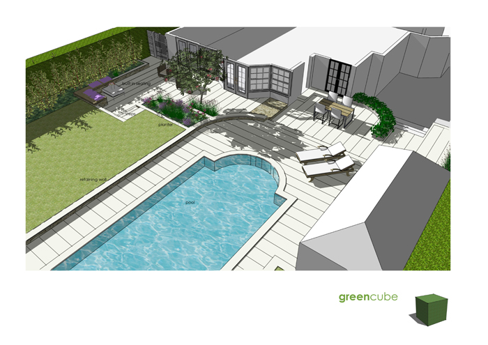 Greencube garden and landscape design uk garden design for Gardens around pools