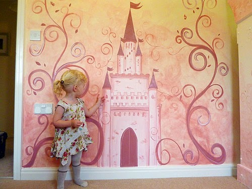Beautiful Girlu0027s Pink Fairy Castle Wall Mural   By Joanna Perry   Mural  Painter Based In Cheshire
