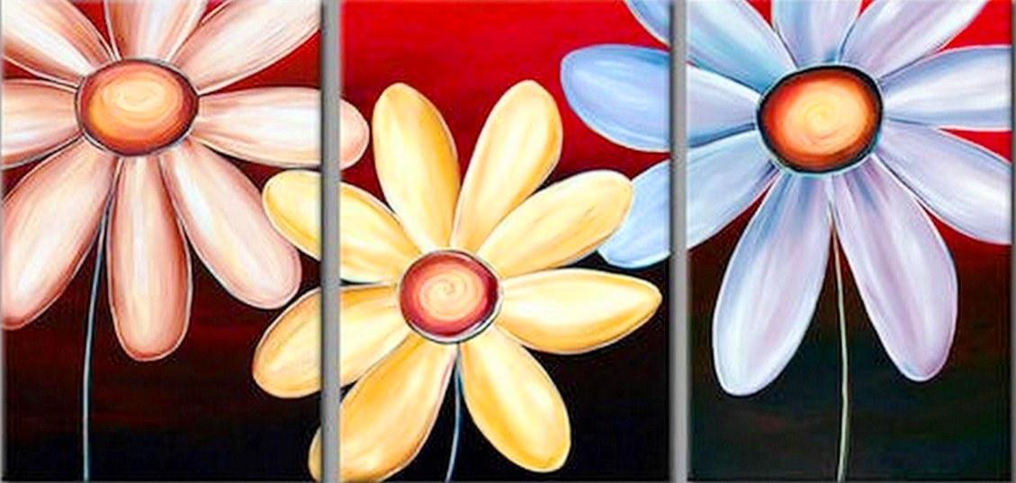 Cuadros modernos pinturas y dibujos cuadros tr pticos de flores - Como pintar cuadros faciles ...