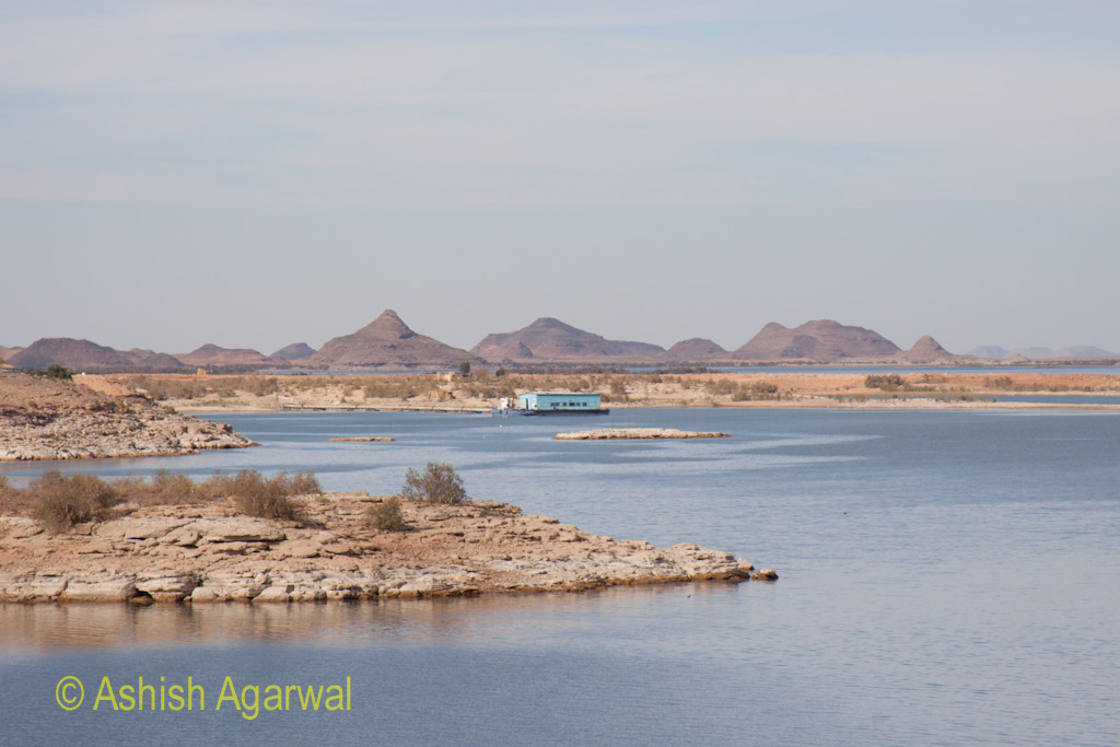 Islands in the water near the temple of Abu Simbel in Egypt