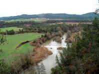 Panoràmica del Llobregat al seu pas per la Resclosa de la Colònia Soldevila i els camps de l'entorn