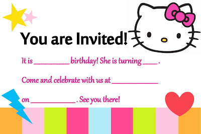 Pink MagaLine DIY Hello Kitty Printable Invitation