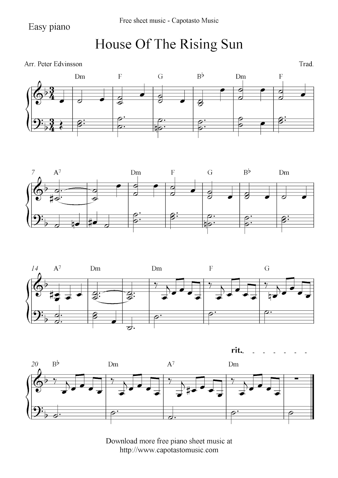 Free piano sheet music score, House Of The Rising Sun