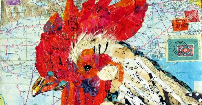 Nancy Standlee Fine Art Rooster Torn And Hand Painted