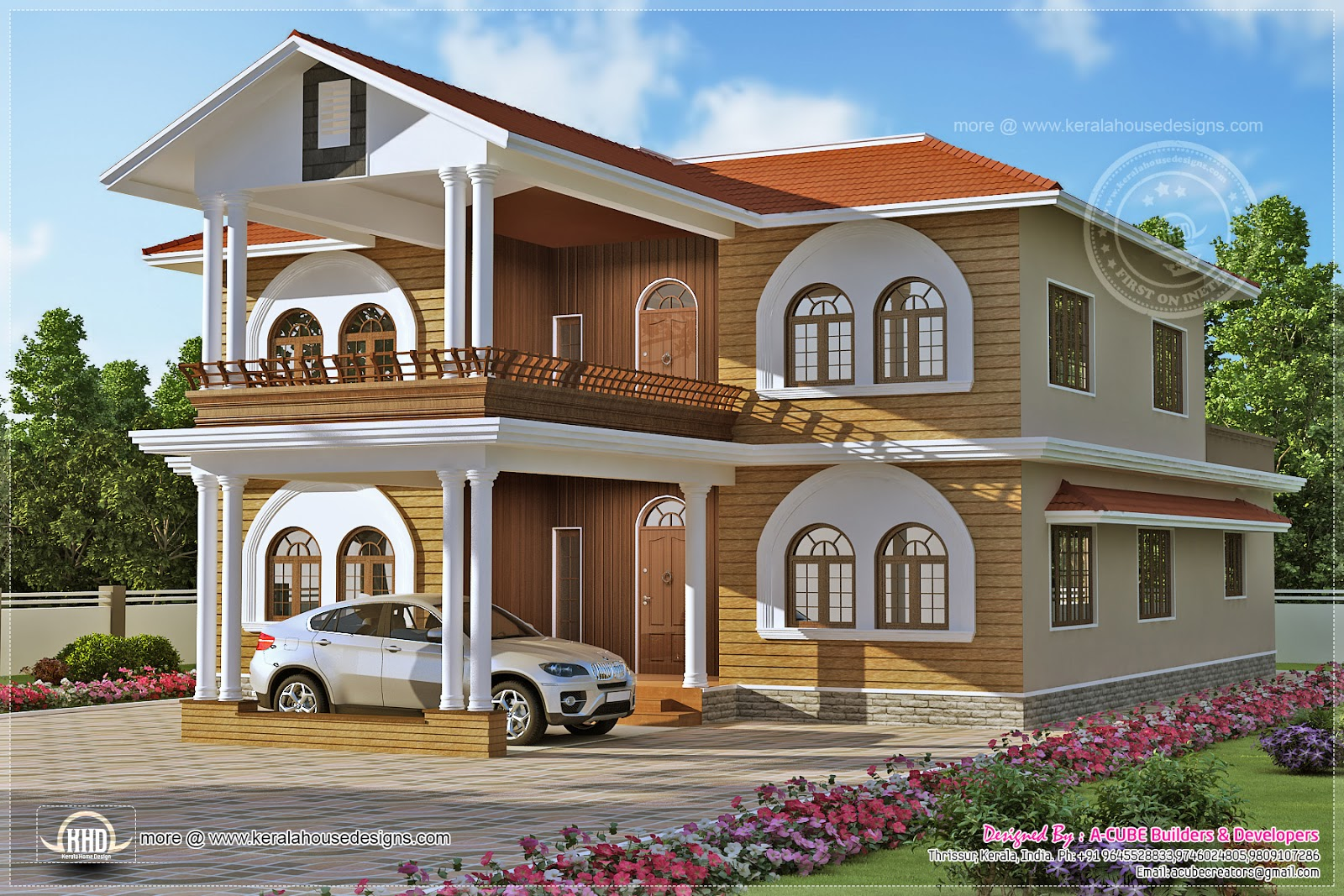 Luxury villa design in 3836 square feet kerala home design and floor plans - Design of house in sq feet ...