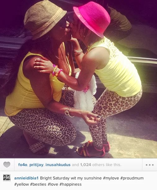 Annie Idibia with daughter Isabella Idibia
