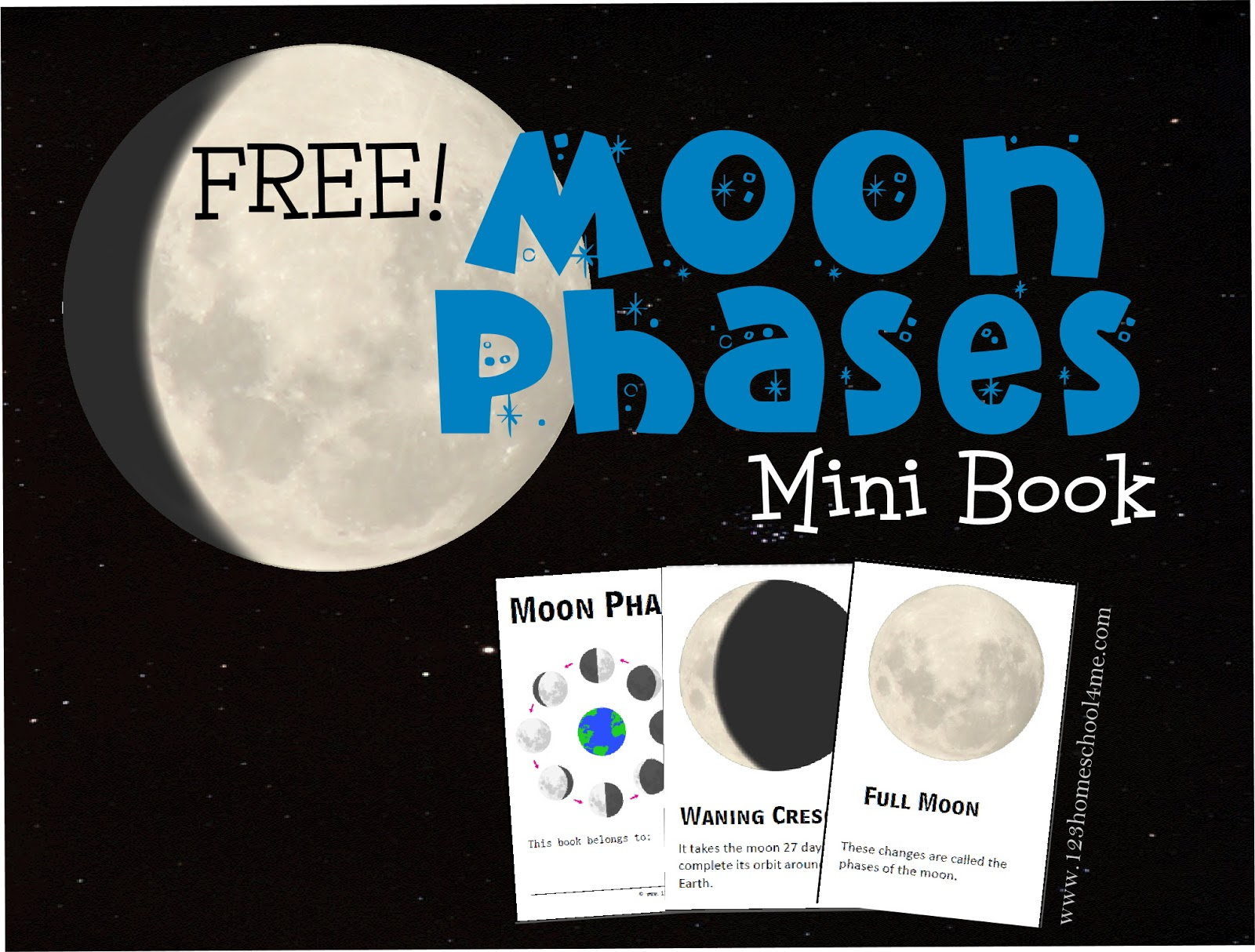 photo relating to Printable Moon Phases titled Cost-free MOON Stages MINI-E-book (fast obtain)