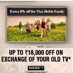 Flipkart: Buy TVs upto 43% off + upto Rs. 4000 off (Exchange) + EMI Interest Cashback