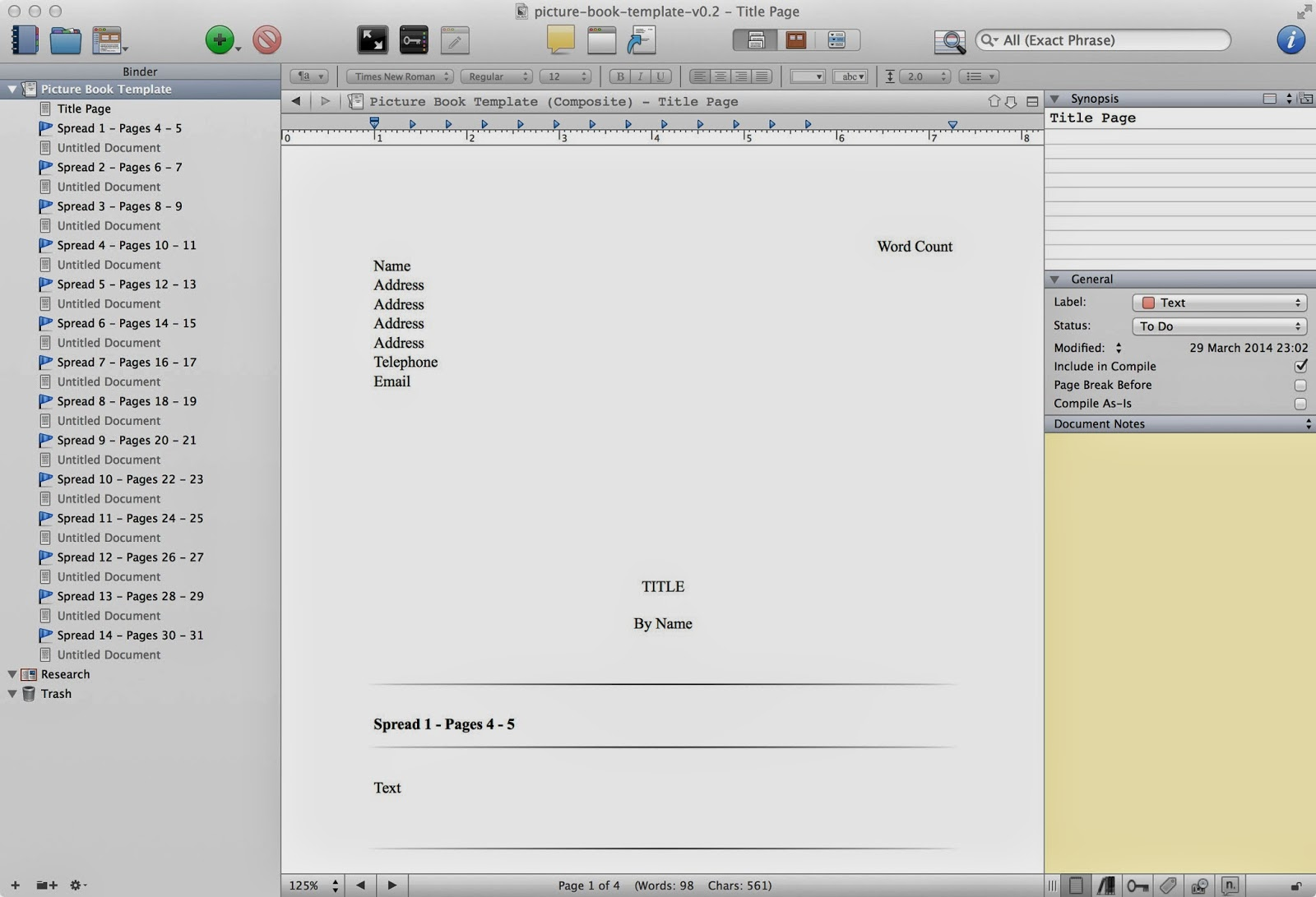 claire o brien art writing a picture book in scrivener free