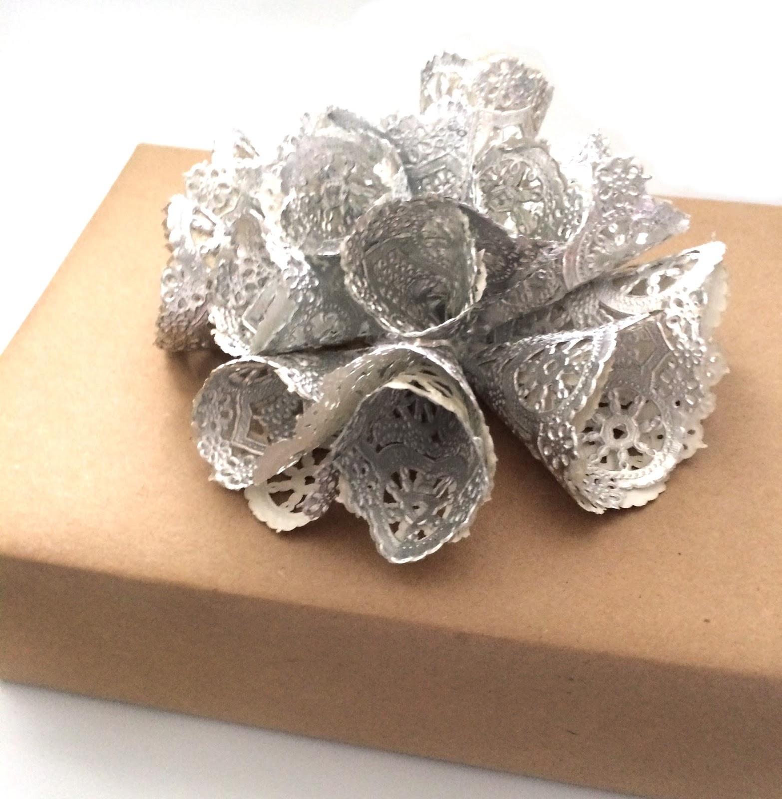 silver doily gift wrap