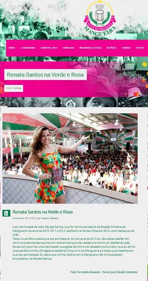 Renata Santos está de volta à Mangueira!
