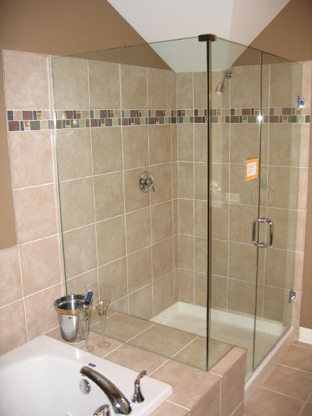 How to install ceramic tile in a shower for Glass tile ideas for small bathrooms