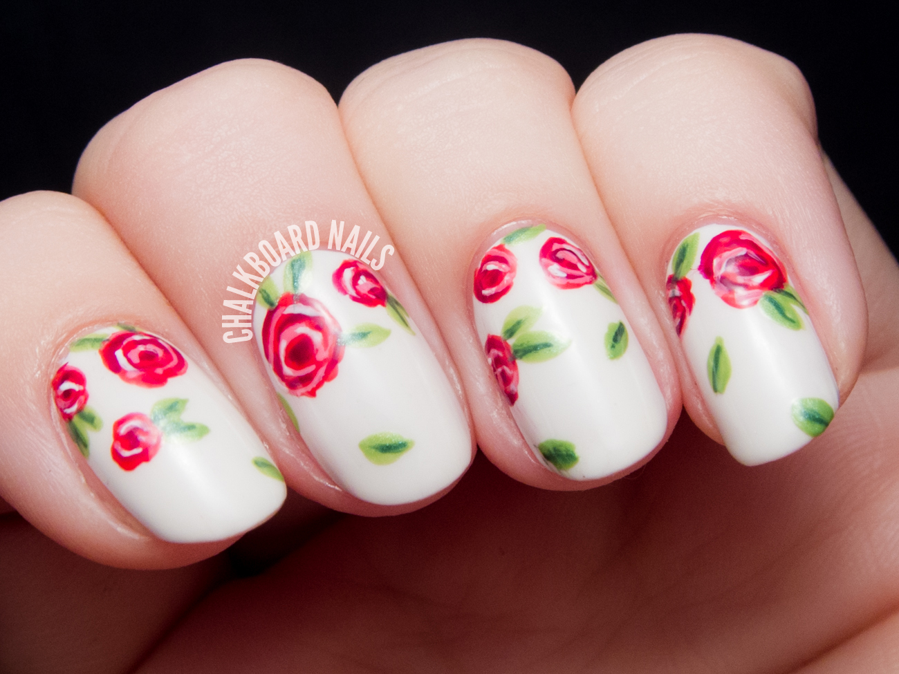 Sweet Red Rose Floral Print | Chalkboard Nails | Nail Art Blog